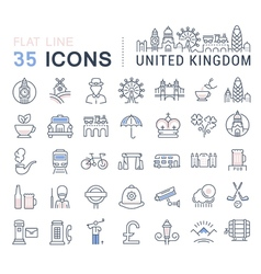 United kingdom line icons 3 vector