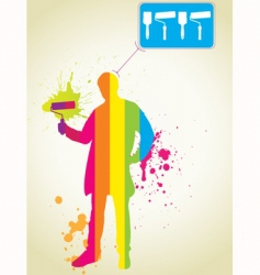 Rainbow painter vector
