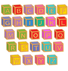 alphabet english colorful blocks vector image