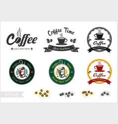 Set of retro coffee badge label logo design vector
