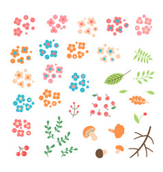 Set of flowers leaves berries drawn in a simple vector