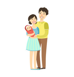 Young parents with newborn kid in arms vector