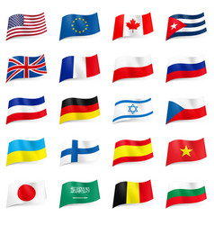 Set world flags icons on white vector