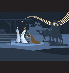 Flat nativity scene b vector