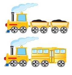 Two locomotives vector