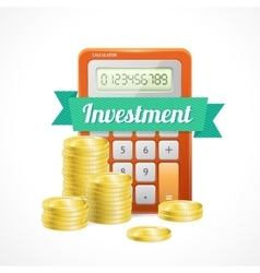 Columns of gold coins with calculator vector