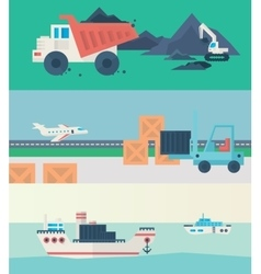 Flat banners set of logistic process vector