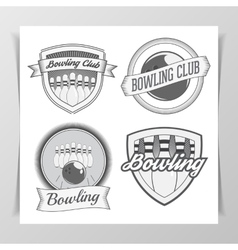Set of bowling graphic labels vector