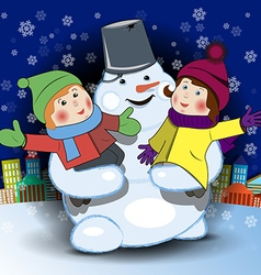 Snowman and children vector