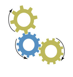 Mechanism of gears icon vector