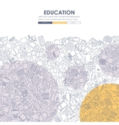 Education doodle website template design vector