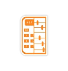 Stylish sticker on paper calculator and abacus vector
