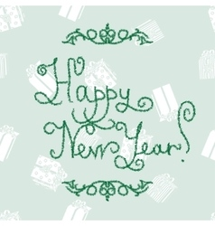 New year lettering of fir-tree font vector