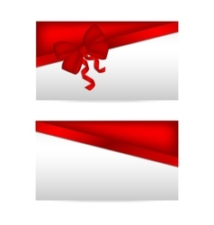 Silver gift cards with red ribbons vector