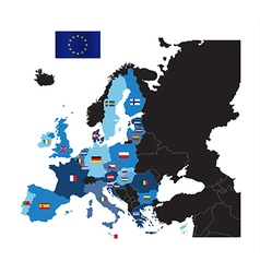 European union map with flags of member countries vector