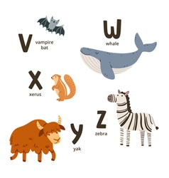 Animal alphabet letters v to z vector
