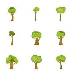 Abstract tree icons set cartoon style vector image vector image