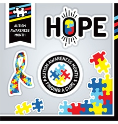 Autism Awareness Month Design Elements vector image