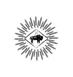 bison retro logo icon vector image