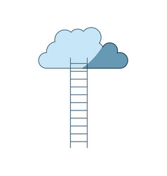 Blue shading silhouette of ladder to cloud vector