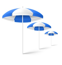 Blue sun beach umbrellas isolated on white vector