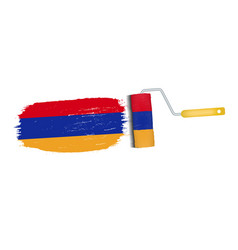 brush stroke with armenia national flag isolated vector image vector image
