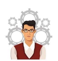 Business man with glasses and gears work vector