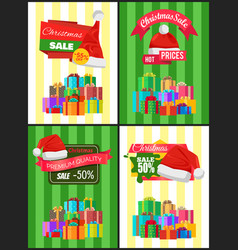 Christmas discount for holiday presents posters vector