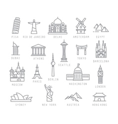 City flat icons vector image vector image