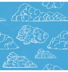Clouds Hand Draw Sketch Background Pattern vector image vector image