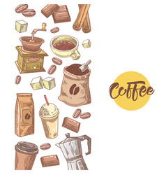 coffee hand drawn design with coffee beans vector image vector image
