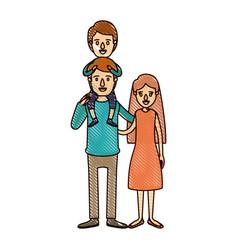 Color crayon stripe cartoon family mother and vector