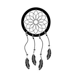Contour beauty dream catcher with feathers design vector