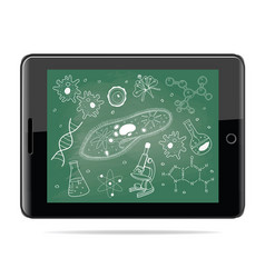e-learning concept tablet computer with biology vector image vector image