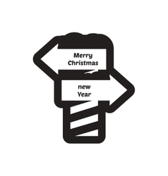 Flat icon in black and white pointer north pole vector