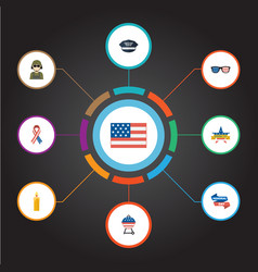 flat icons memorial day awareness american vector image vector image
