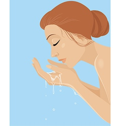 Girl washing her face vector