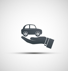 Hand holds the car vector