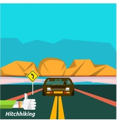 Hitchhiking tourism vector