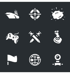 Icons set of ship video games vector