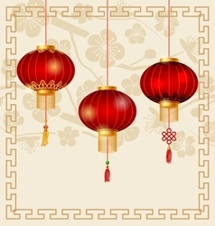 Japanese or Chinese Background with Lanterns and vector image