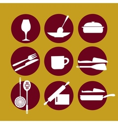 kitchenware icon set on yellow vector image vector image
