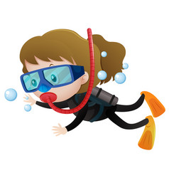 Little girl scuba diving underwater vector