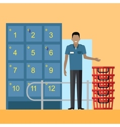 Lockers and security personnel in supermarket vector