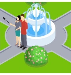 Loving couple making selfie isometric layout vector