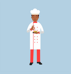 Male chef cook character in uniform sprinkling vector
