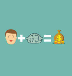 man plus brain equal money vector image