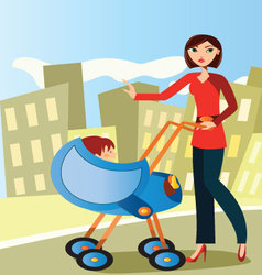 mom-with-baby-stroller vector image vector image