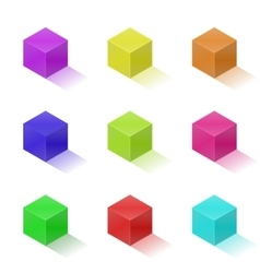 Nine colorful bright cubes vector
