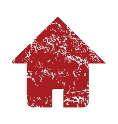 Red grunge home logo vector image vector image